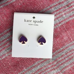 Kate Spade Purple & Gold Spade Earrings